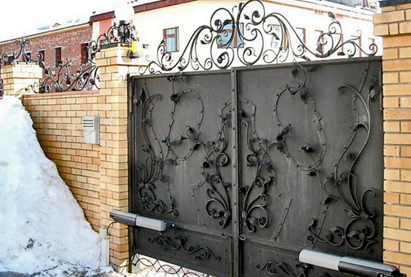 Забор с коваными воротами в Воронеже