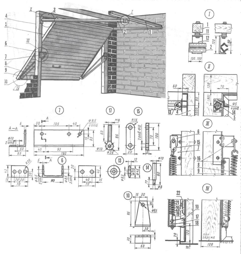 Схема устройства подъемных устройств для гаража