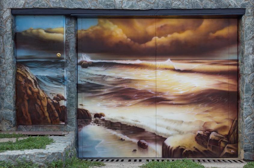 Наклейка с видом на море